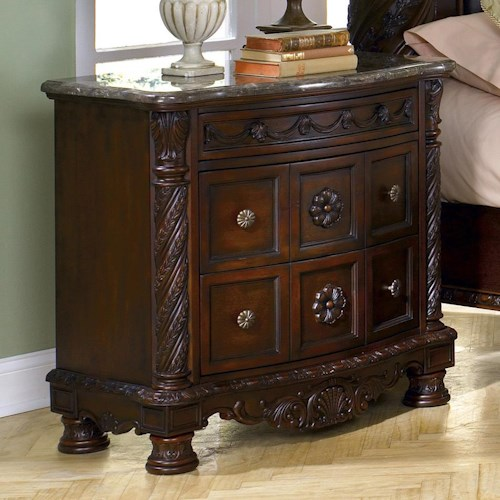 Millennium North Shore Night Stand with Half Turned Posts and Feet