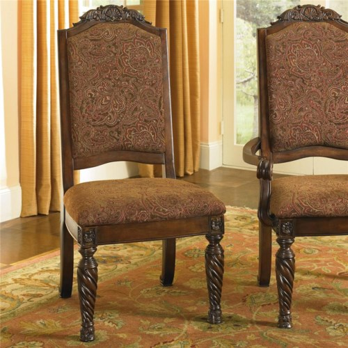 old world dining side chairs with elegant back crown - rotmans