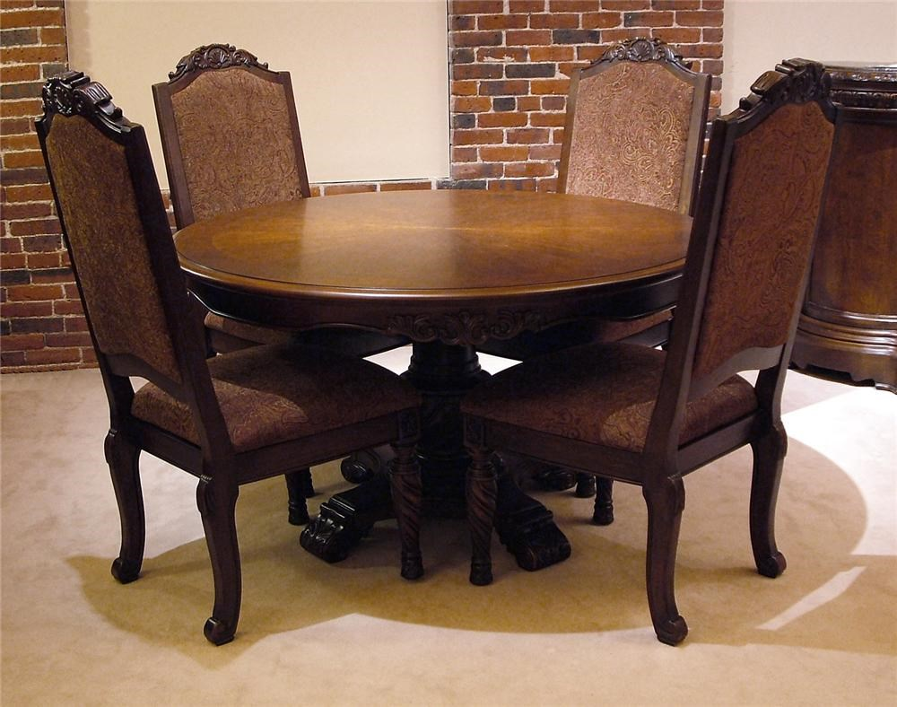 old world 5pc round pedestal table & chair set - rotmans - dining