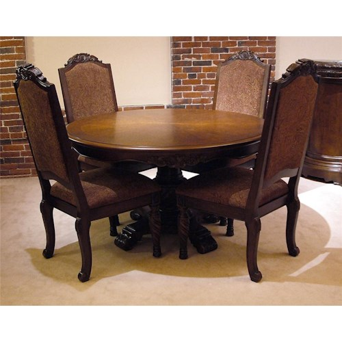 Old World Round Pedestal Table Chair Set Rotmans Dining