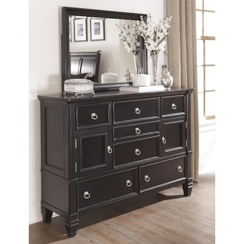 Millennium Greensburg Transitional Dresser with 2 Doors and 7 Drawers & Mirror