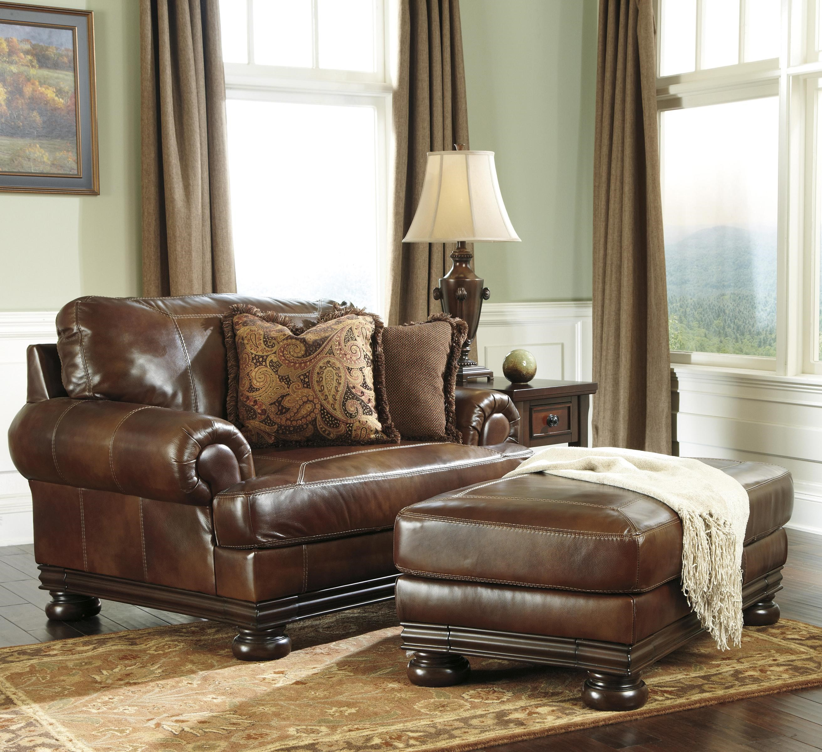 Ashley (Signature Design) HutchersonTraditional Chair And A Half And Ottoman  Set ...