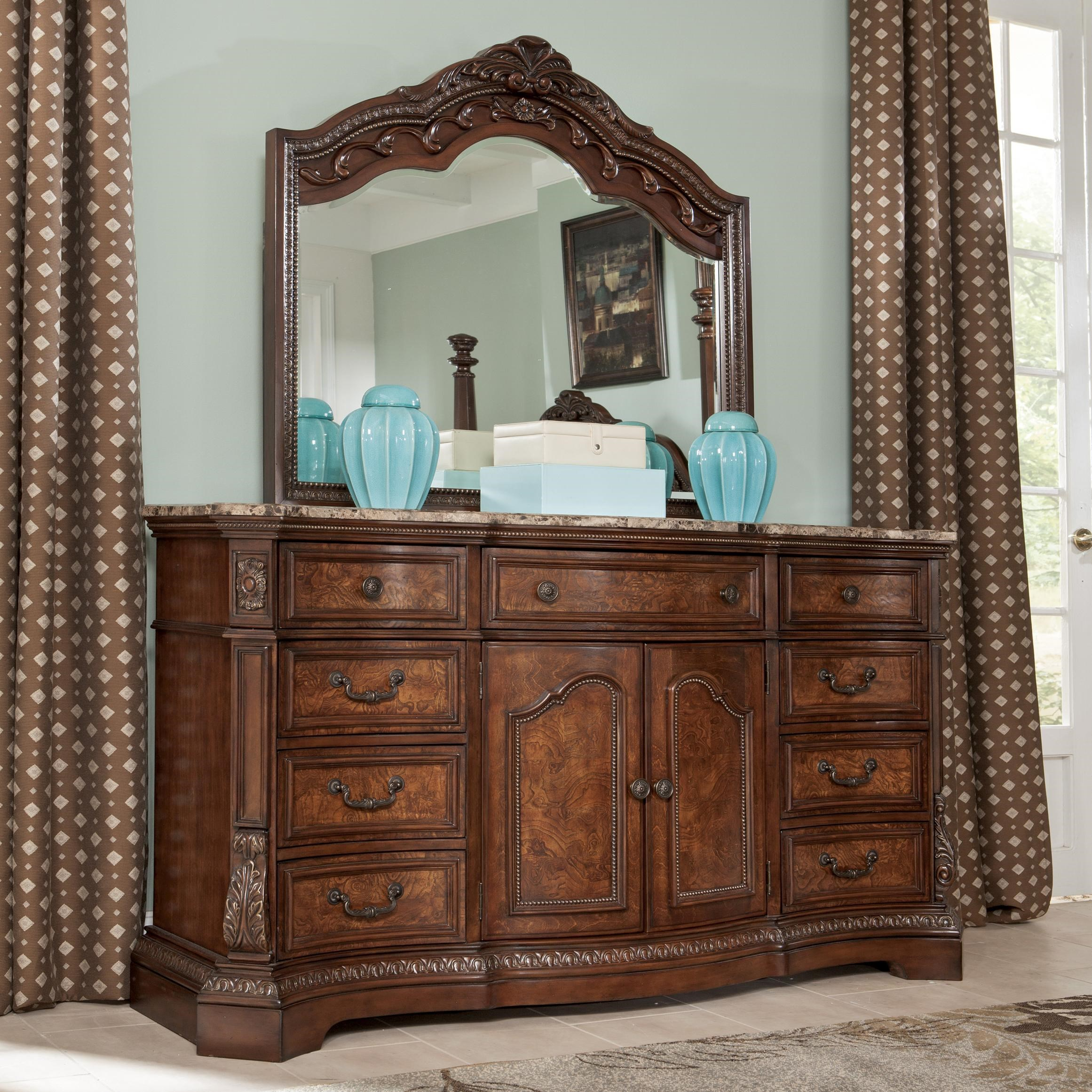 Millennium Ledelle Serpentine Shape Dresser With Natural Marble Rhlindysfurniture: Bedroom Dresser With Mirror At Home Improvement Advice