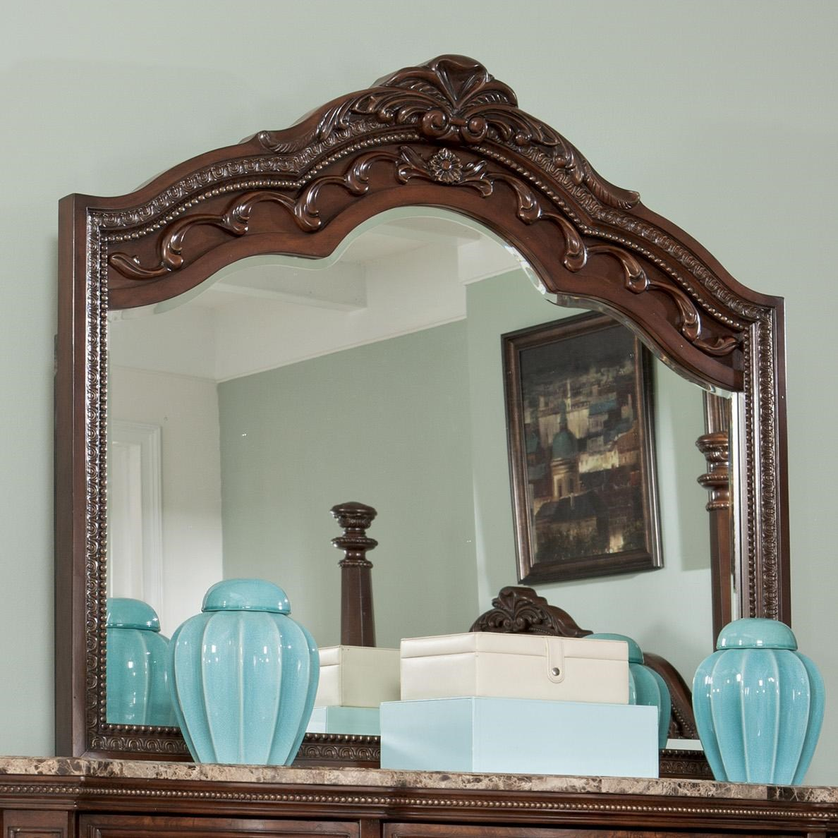 Millennium Ledelle Traditional Bedroom Mirror With Shaped Frame   Del Sol  Furniture   Dresser Mirrors