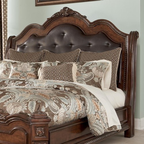 Millennium Ledelle Queen Sleigh Headboard with Tufted Brown Faux Leather Upholstery