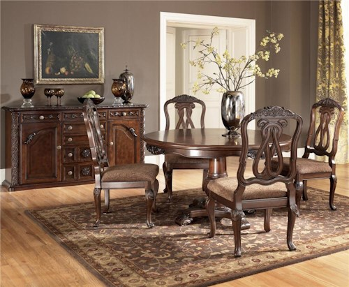 Millennium North Shore 5 Piece Single Pedestal Table & Side Chair Set