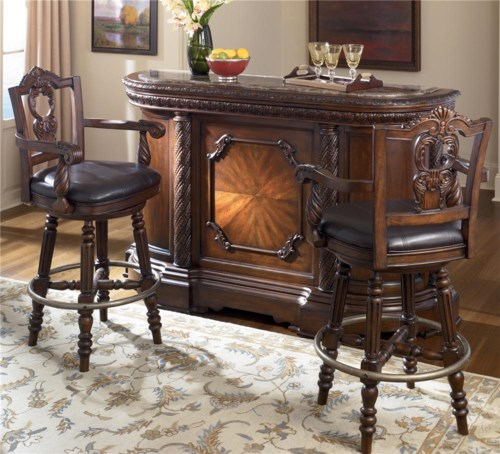 Millennium North Shore Bar With Marble Top Two 30 Inch Swivel Bar