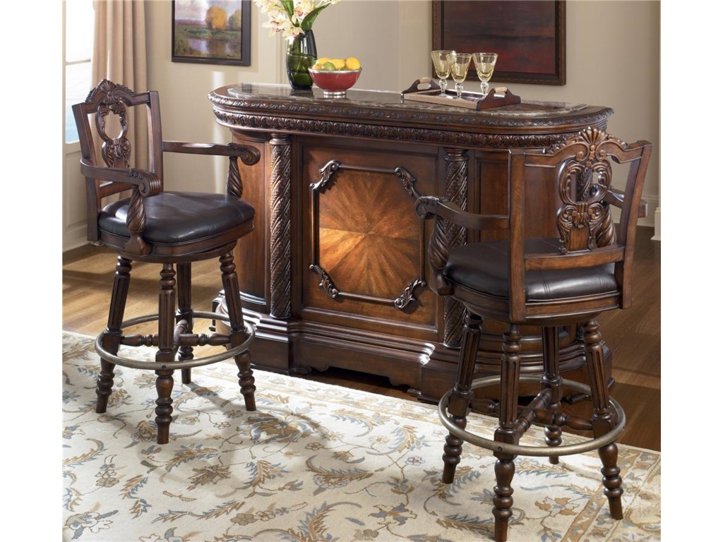 Shown with Two 30 inch Swivel Bar Stools