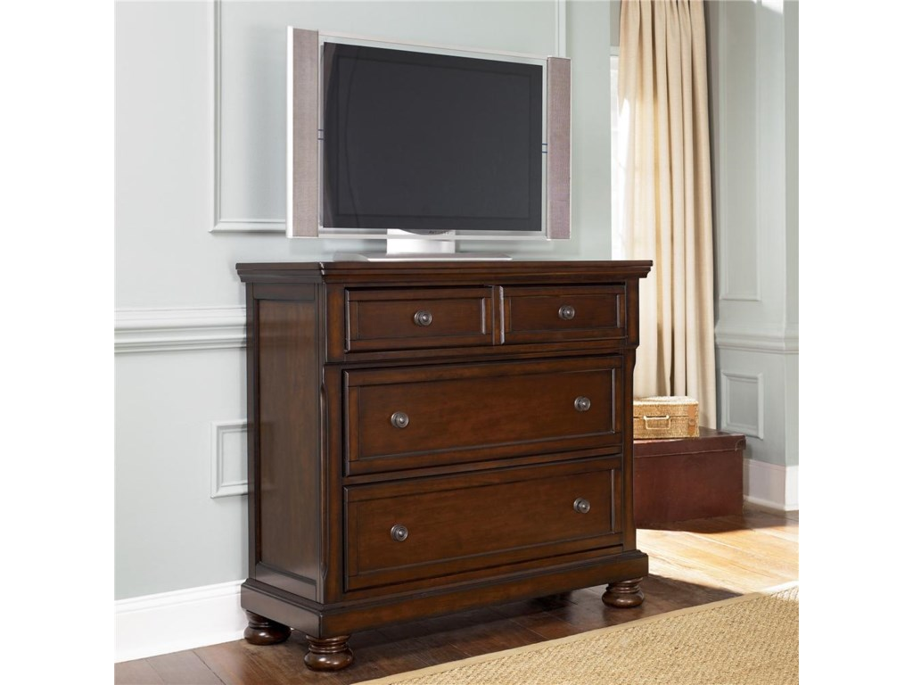 Ashley Furniture Porter Media Chest with Drop Drawer - Gill ...