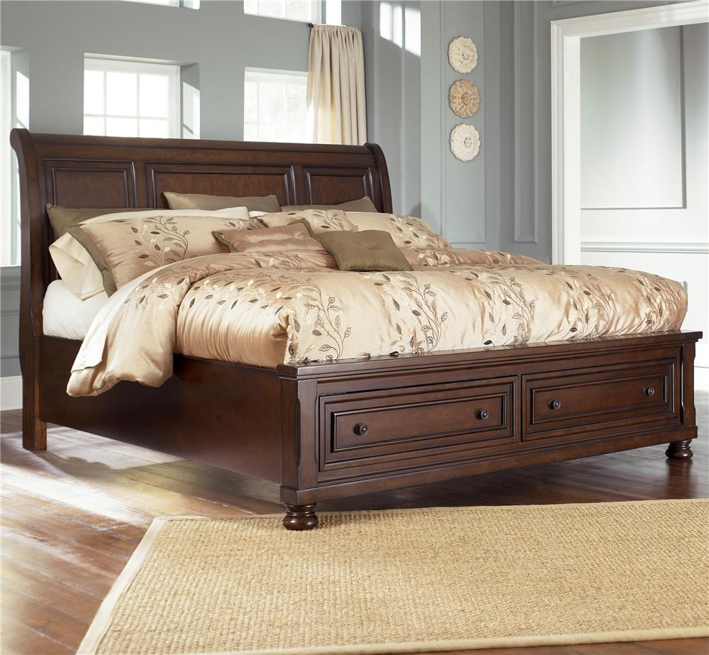 - Ashley Furniture Porter Queen Sleigh Bed With Storage Footboard