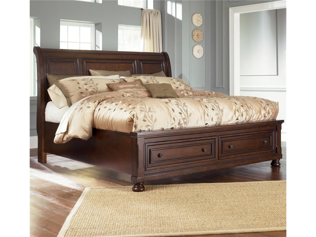 Ashley Furniture Porter Queen Sleigh Bed With Storage Footboard Gill Brothers Beds