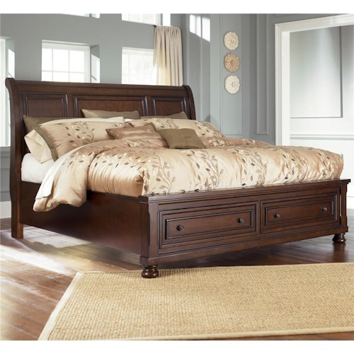 Ashley Furniture Porter Queen Sleigh Bed with Storage Footboard