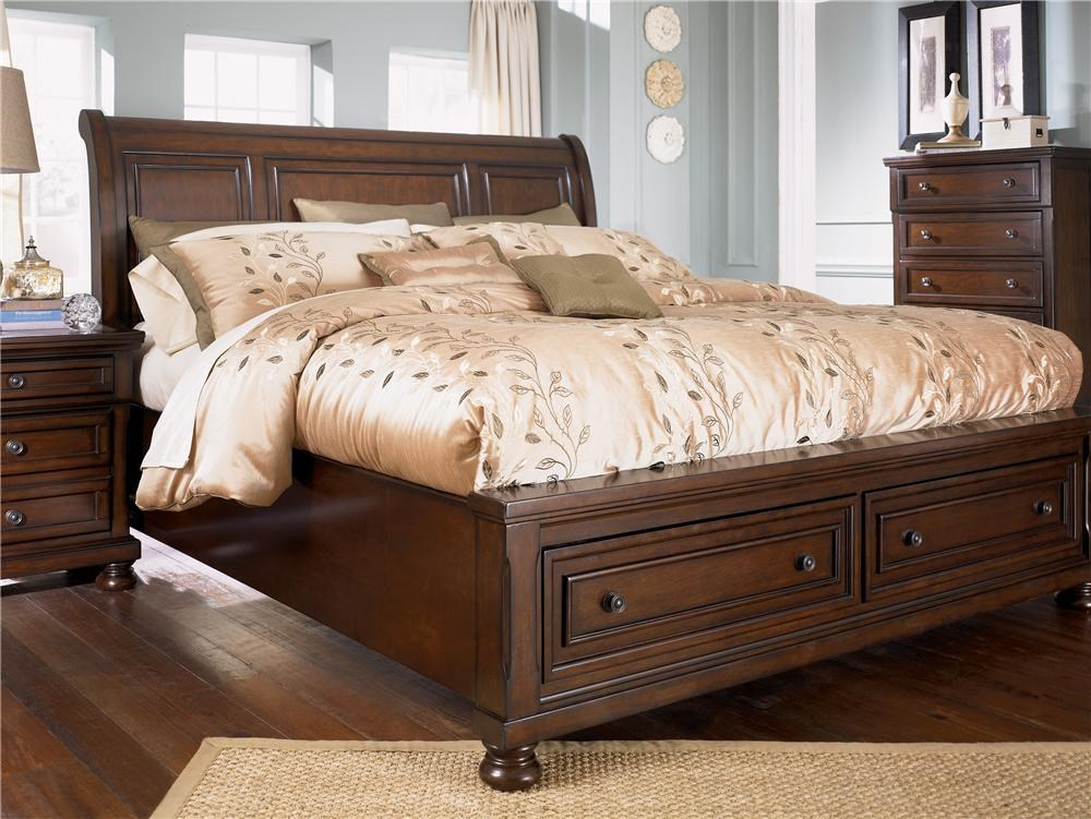 Picture of: Ashley Furniture Porter Queen Sleigh Bed With Storage Footboard Wayside Furniture Sleigh Beds