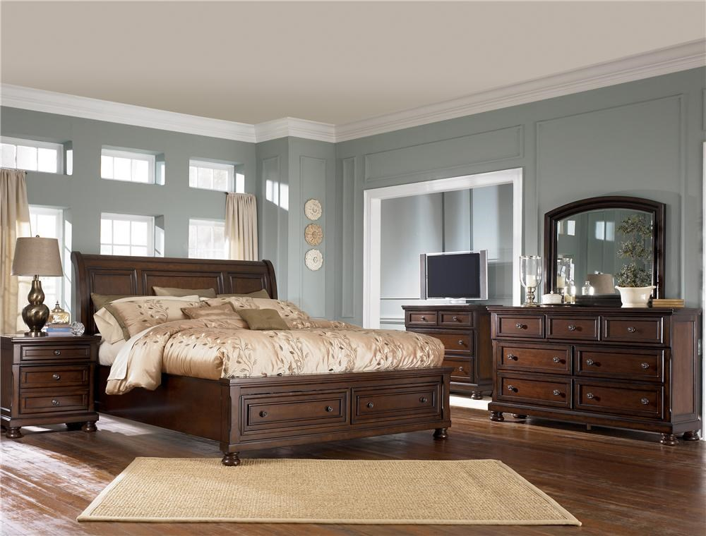 Picture of: Ashley Furniture Porter King Storage Bed Queen Size 699 99 Wayside Furniture Sleigh Beds
