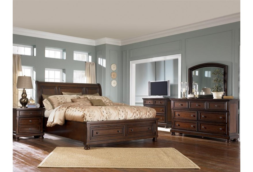 Ashley Furniture Porter B697 78 76 99 King Sleigh Bed With Storage Footboard Northeast Factory Direct Sleigh Beds