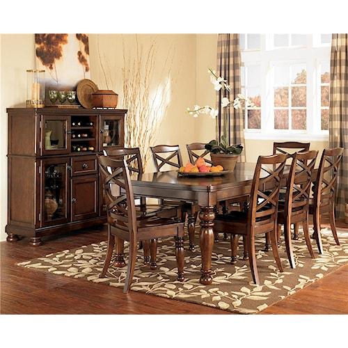 Ashley Furniture Porter 9 Piece Rectangular Extension Table Side Chair Set Wayside Furniture