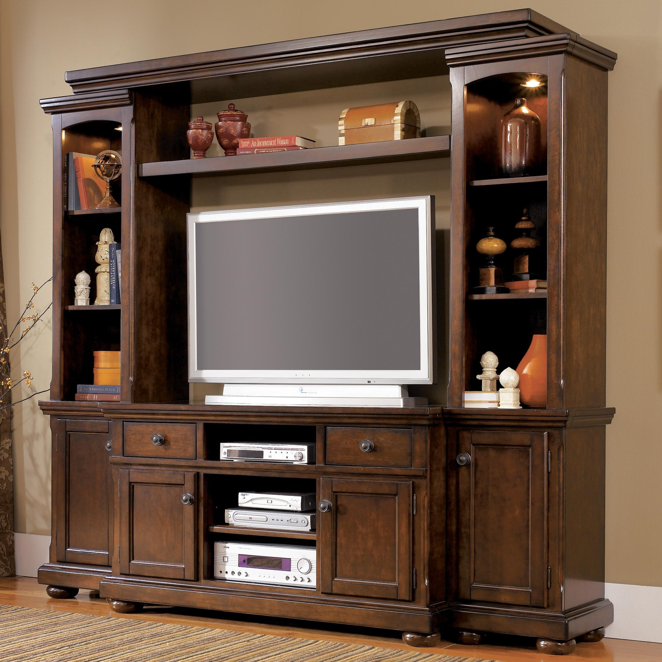 Ashley Furniture Porter Entertainment Wall Unit With TV Stand, Piers,  Bridge, And Shelf