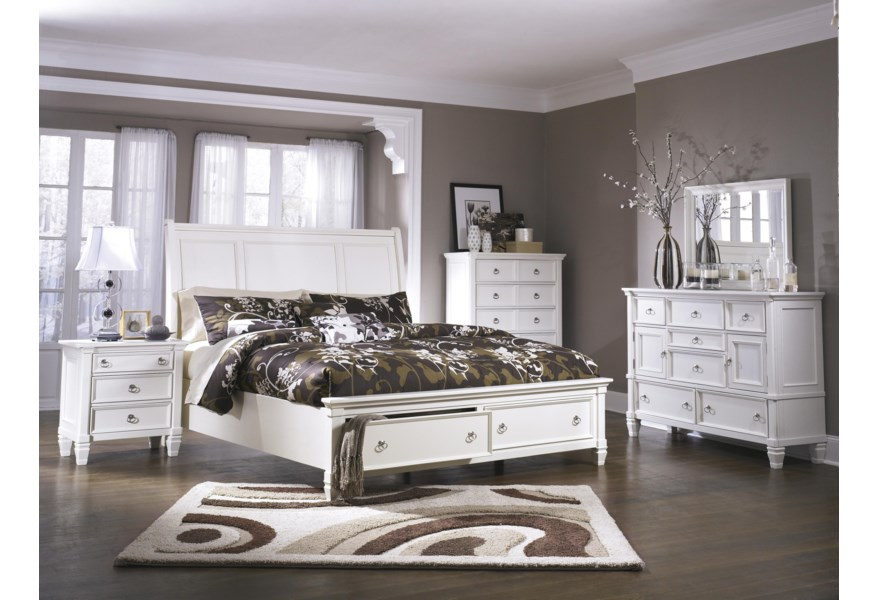 Millennium Prentice California King Sleigh Bed With Storage Footboard Dunk Bright Furniture Platform Beds Low Profile Beds