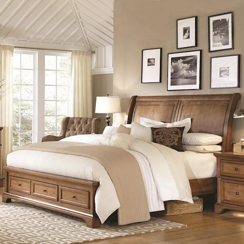 Aspenhome Alder Creek King Low Profile Sleigh Storage Bed