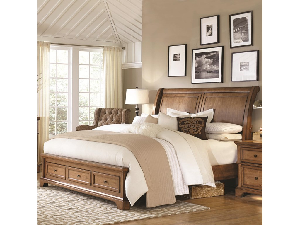 Aspenhome Alder CreekCalifornia King Sleigh Storage Bed