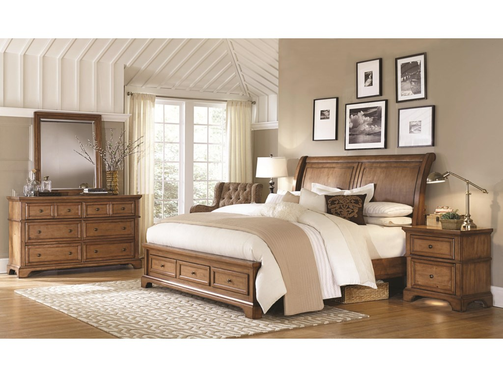 Aspenhome Alder CreekKing Sleigh Storage Bed