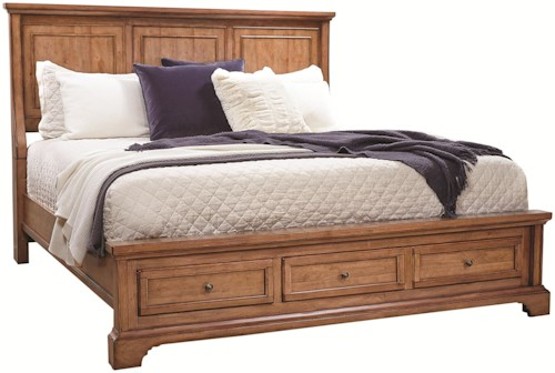 Aspenhome Alder Creek King Panel Storage Bed with 2 Footboard Drawers