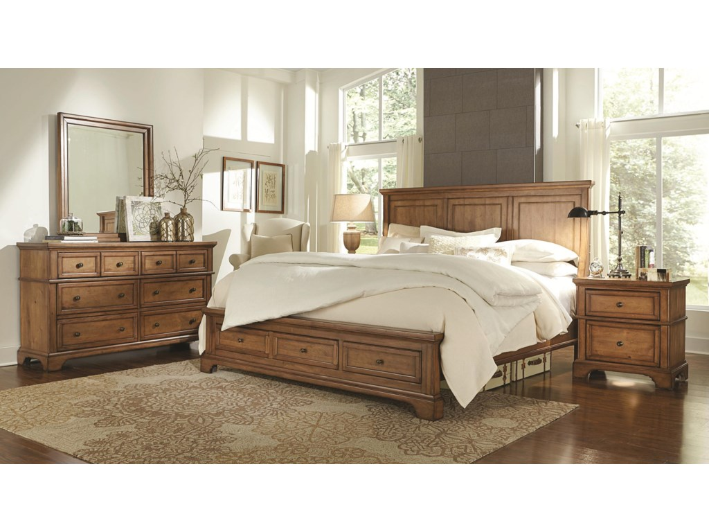 Aspenhome Alder CreekKing Panel Storage Bed