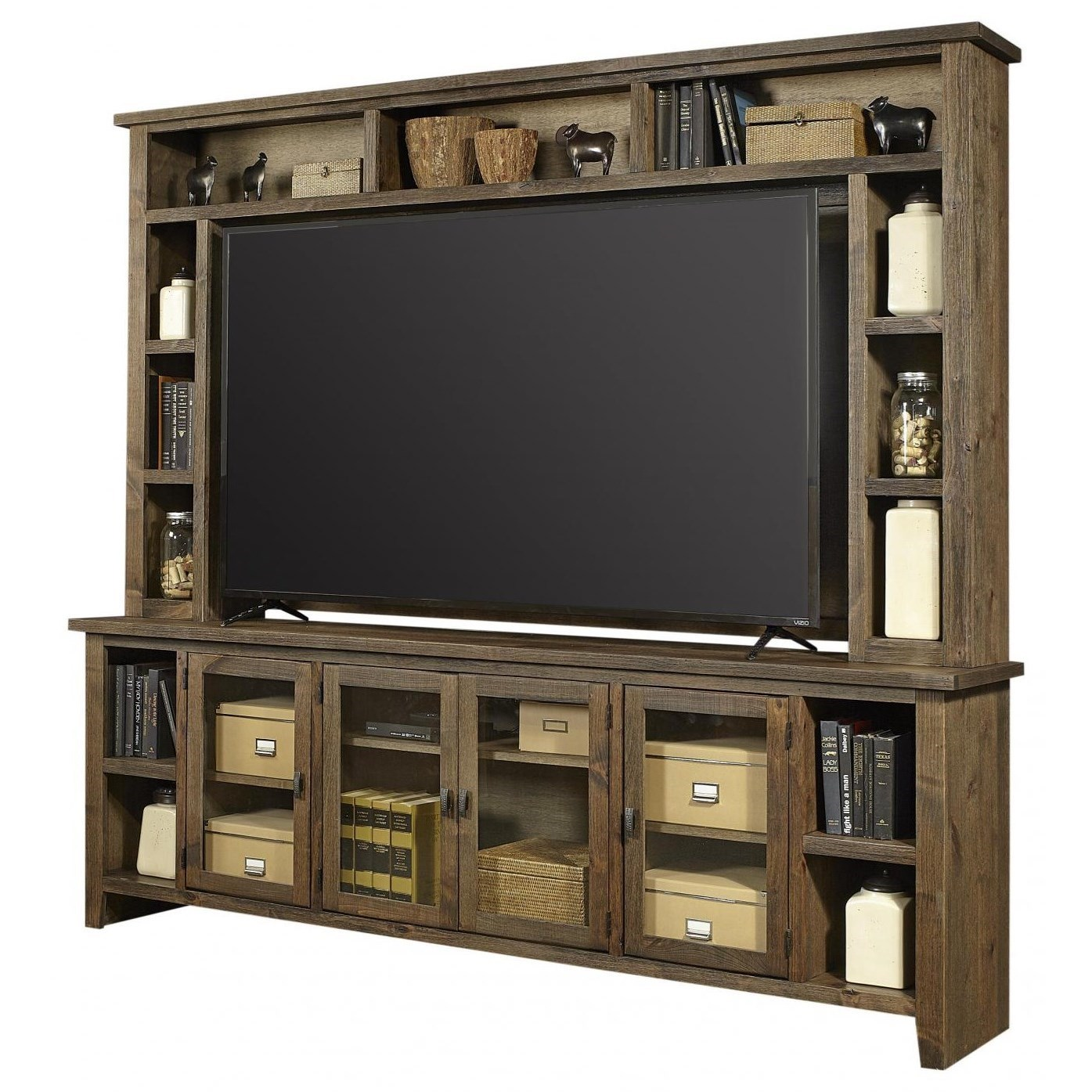 Rustic TV Stand with Hutch