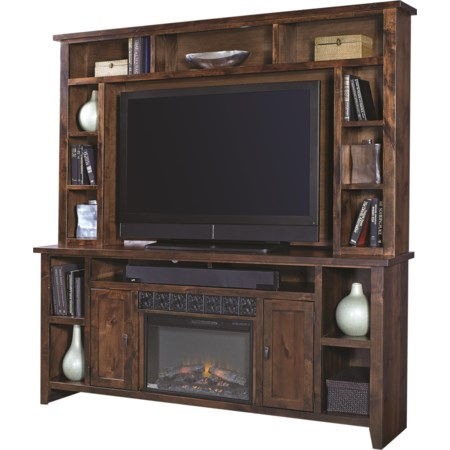 """84"""" Fireplace Console with Hutch"""