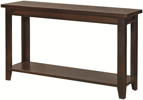 Aspenhome Alder Grove Sofa Table with Tapered Legs and Shelf