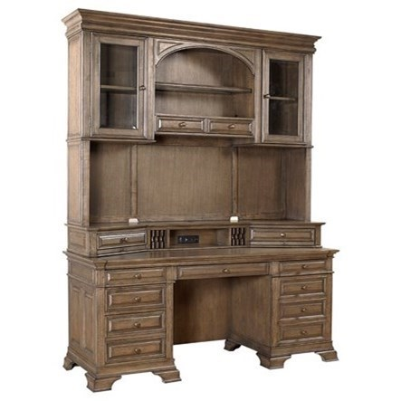 """72"""" Credenza and Hutch with LED Touch Lighting"""