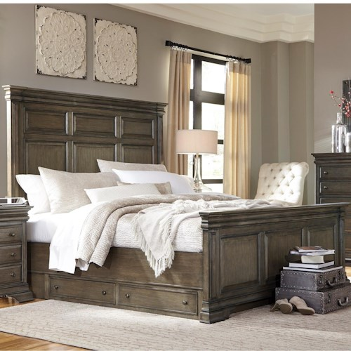 Aspenhome Arcadia King Panel Storage Bed with USB Charging Stations
