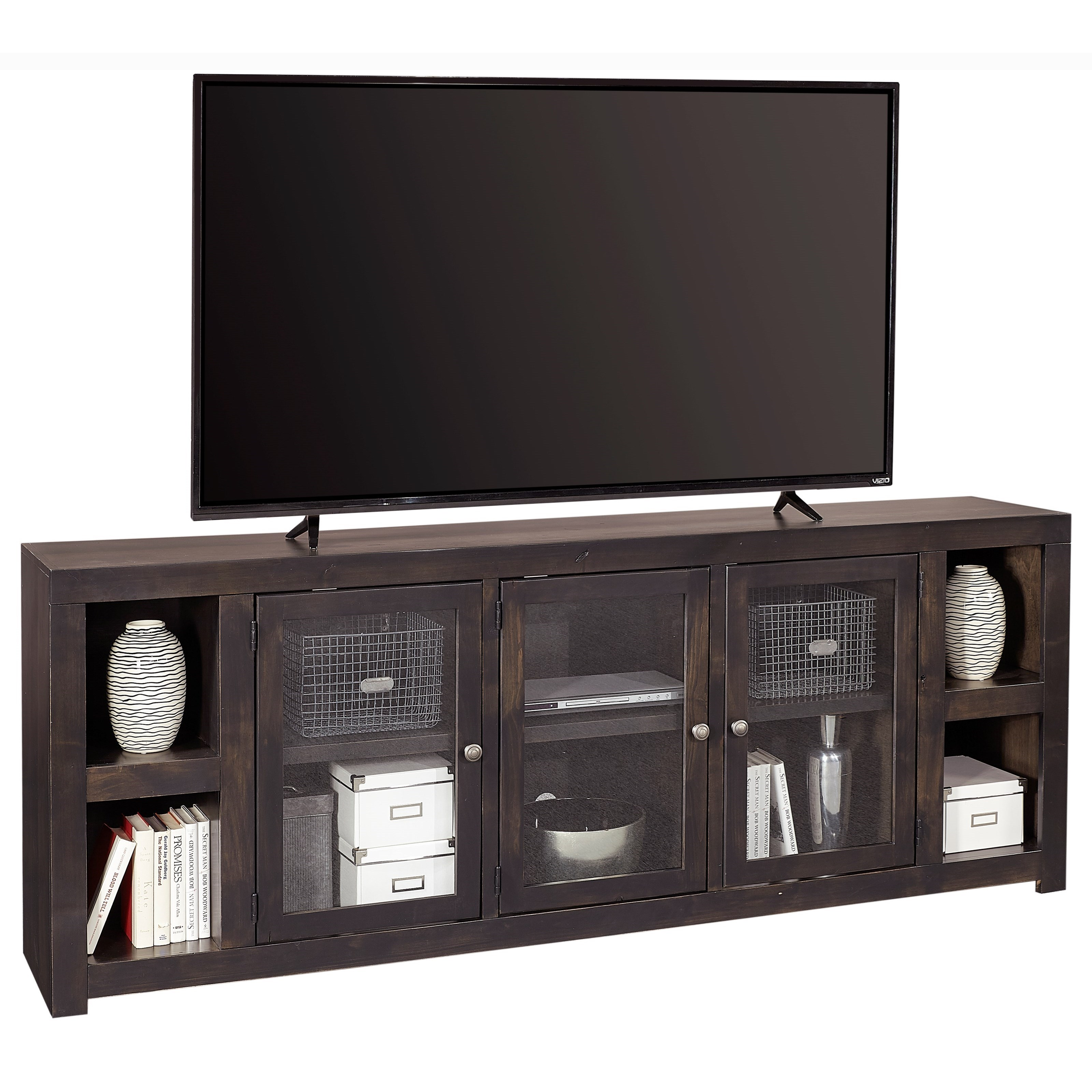 """Contemporary 84"""" TV Console with Glass Cabinets and Cord Access Holes"""