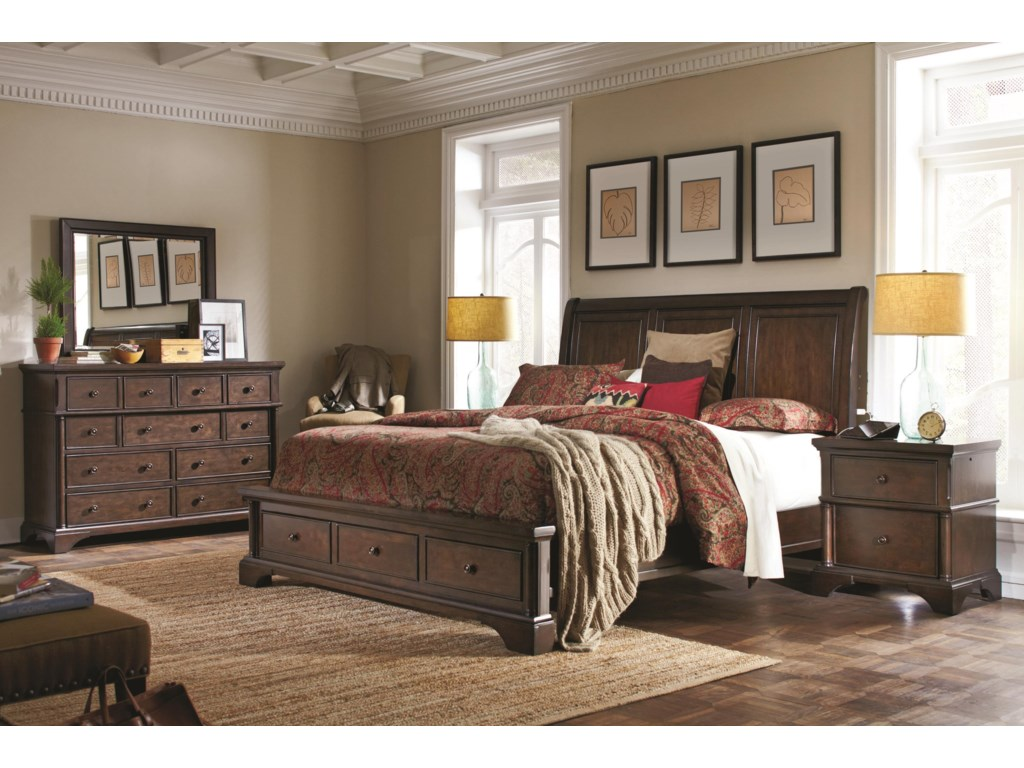 Aspenhome BancroftKing Sleigh Storage Bed