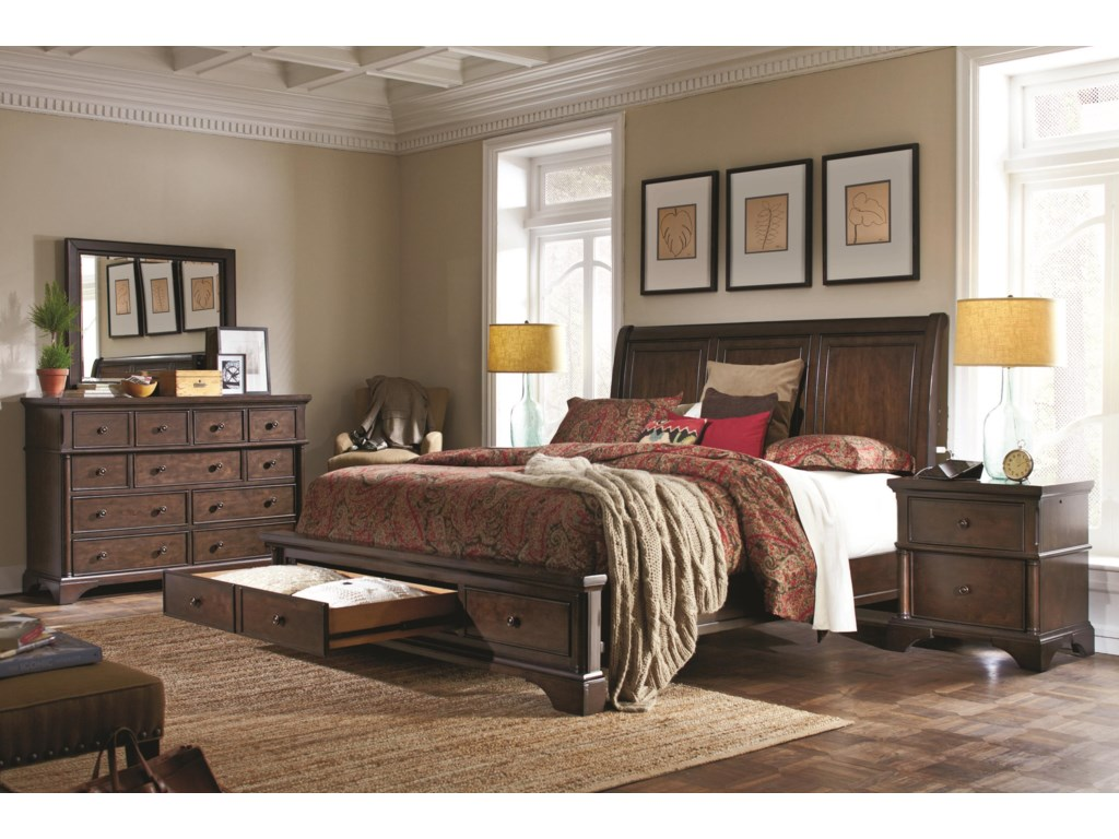 Aspenhome BancroftCalifornia King Sleigh Storage Bed