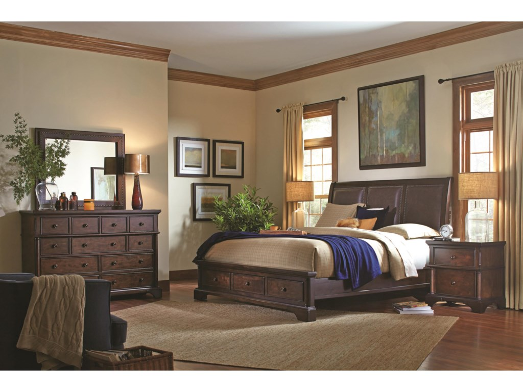 Aspenhome BancroftQueen Bonded Leather Sleigh Storage Bed