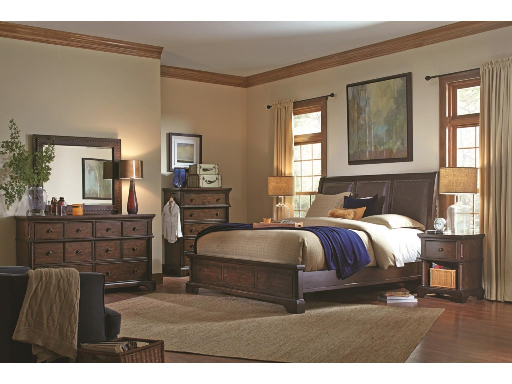 Aspenhome BancroftKing Bonded Leather Sleigh Storage Bed