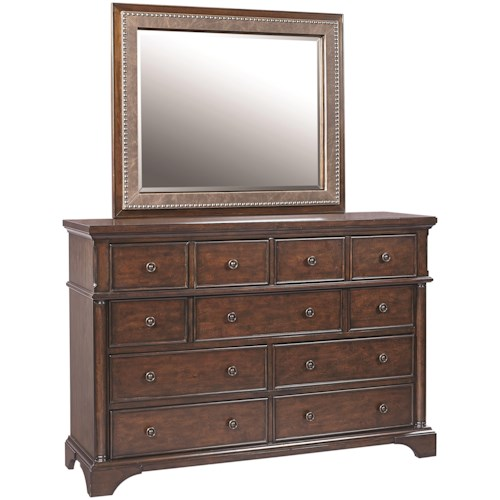 Aspenhome Bancroft 9-Drawer Chesser with Bonded Leather Mirror