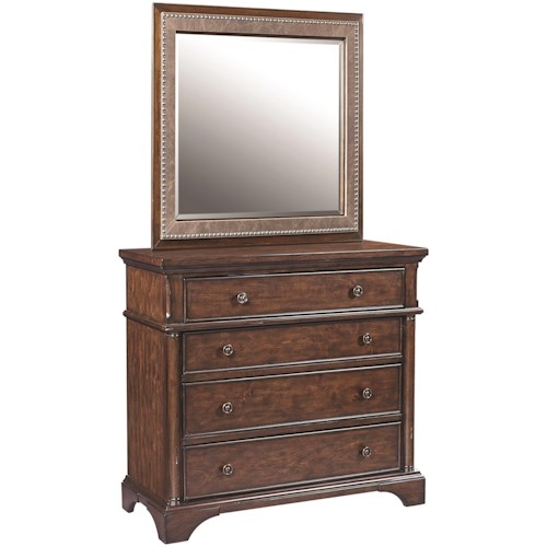 Aspenhome Bancroft 4 Drawer Liv360 Entertainment Chest and Bonded Leather Portrait Mirror