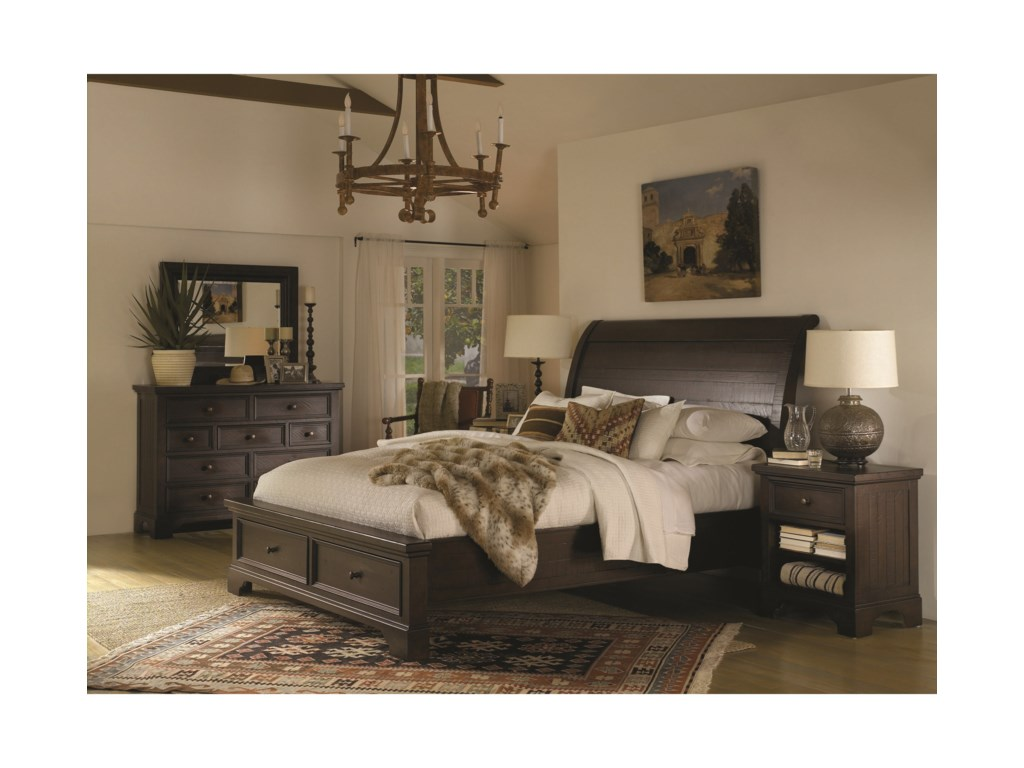 Aspenhome BayfieldCalifornia King Sleigh Storage Bed
