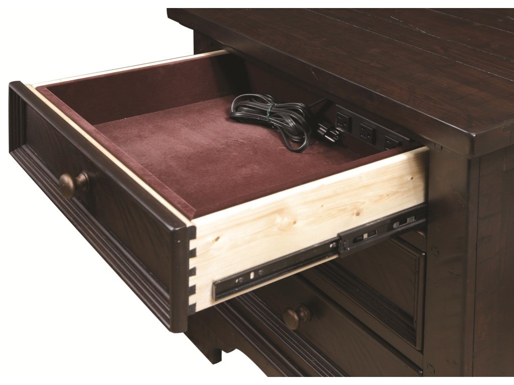 Shown with Felt Lined Drawer Open, Includes Built-In AC Outlets