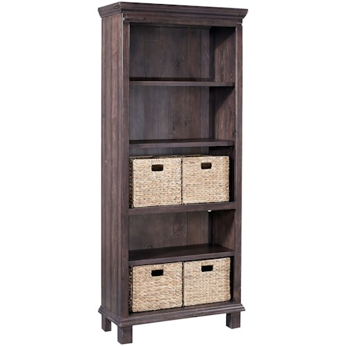 Aspenhome Preferences 5 Shelf Boookcase with Baskets
