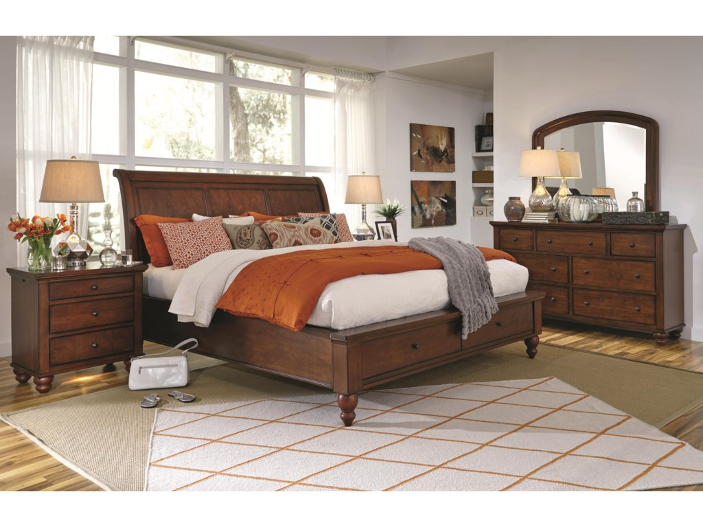 Aspenhome CambridgeQueen Storage Sleigh Bed