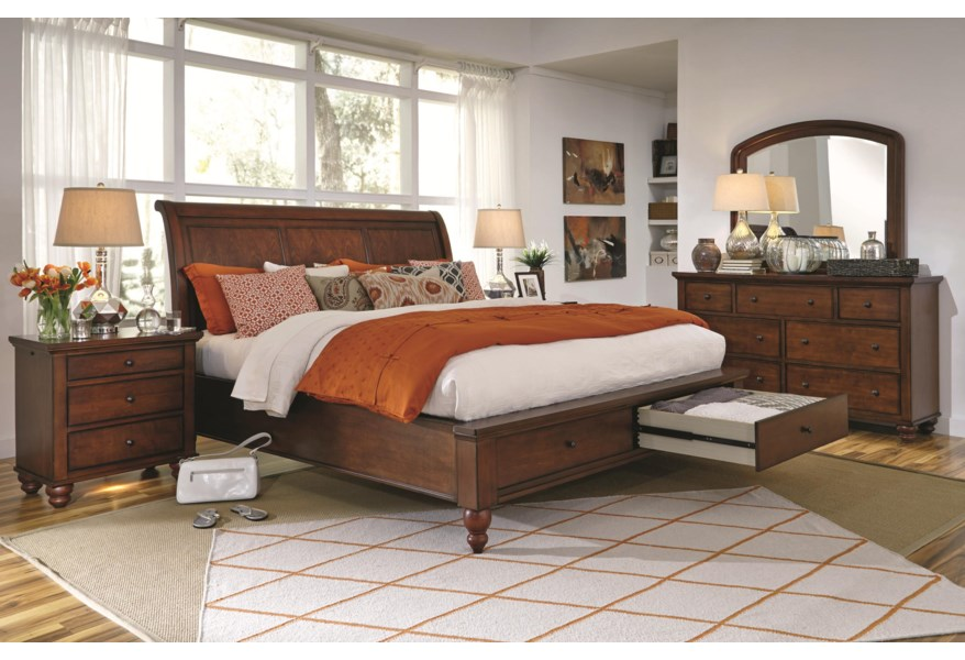 Aspenhome Cambridge Queen Sleigh Bed With Storage Drawers And Usb Ports Belfort Furniture Sleigh Beds