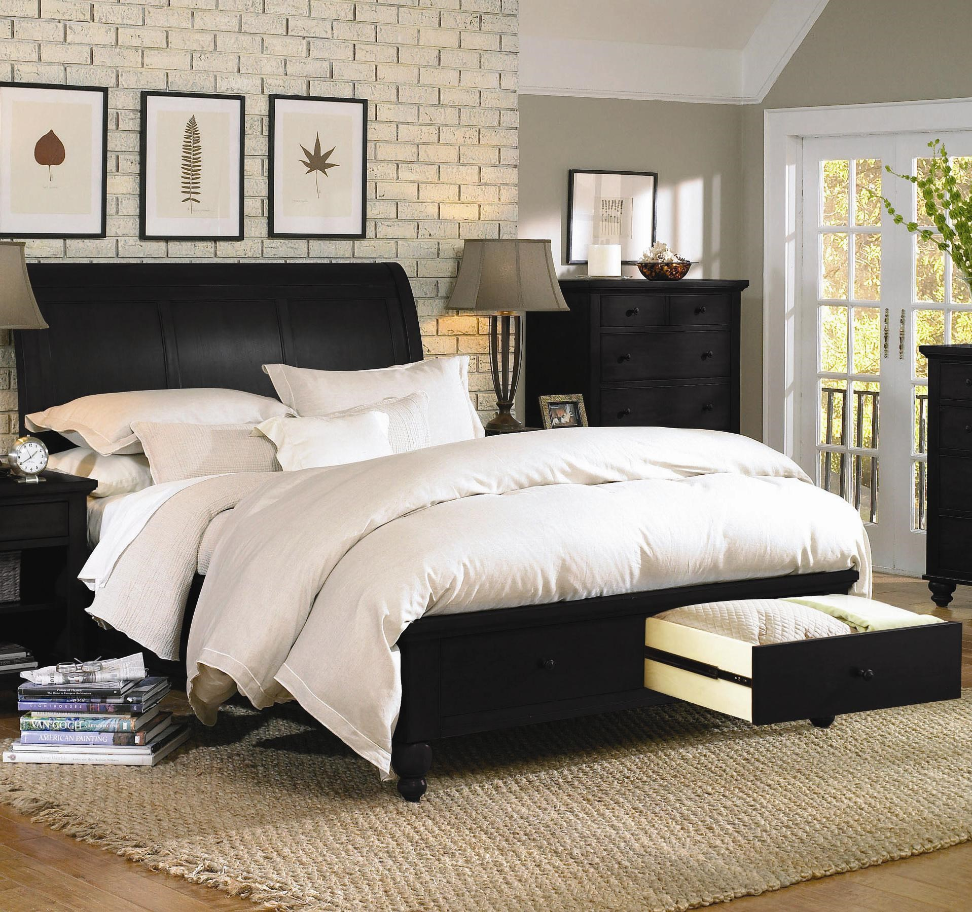 aspenhome cambridge queensize bed with sleigh headboard u0026 drawer storage footboard