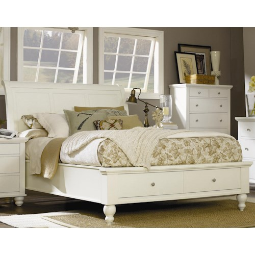 Aspenhome Cambridge King-Size Bed with Sleigh Headboard & Drawer Storage Footboard