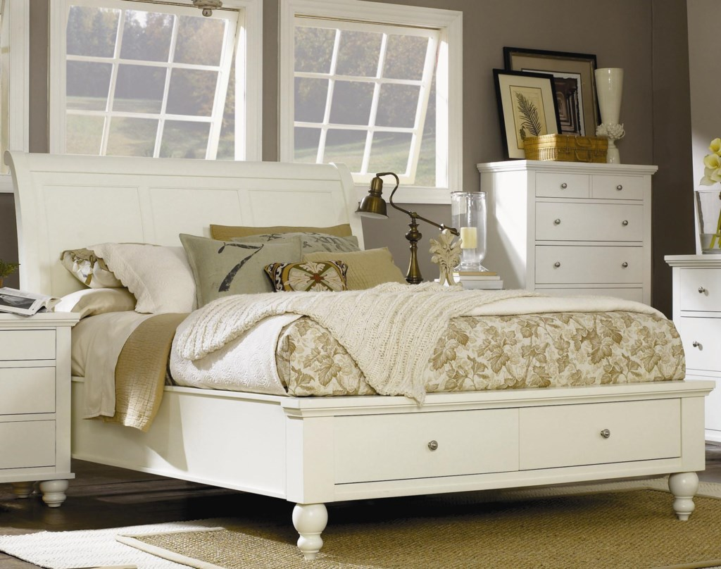 Aspenhome cambridge queen sleigh bed with storage drawers and usb ports