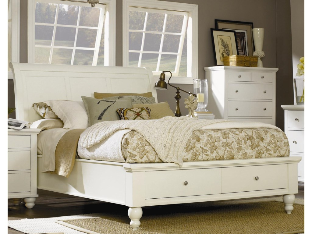 Aspenhome cambridge king size bed with sleigh headboard drawer storage footboard