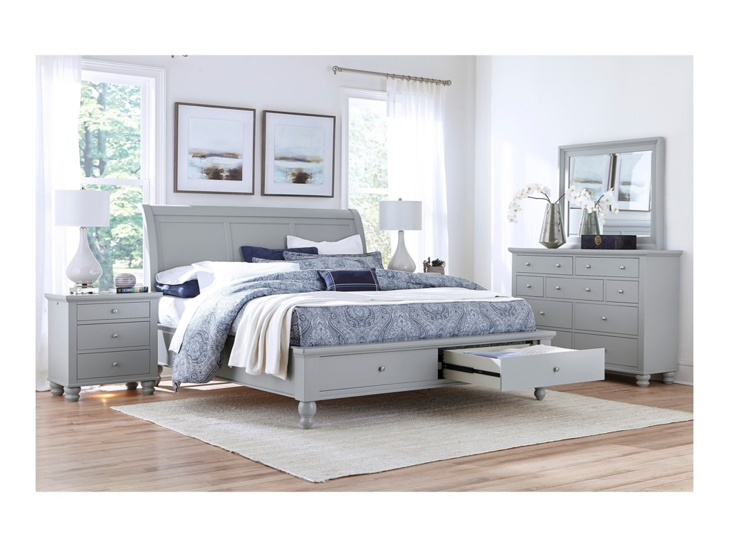 Aspenhome CambridgeKing Sleigh Bed With Storage Drawers