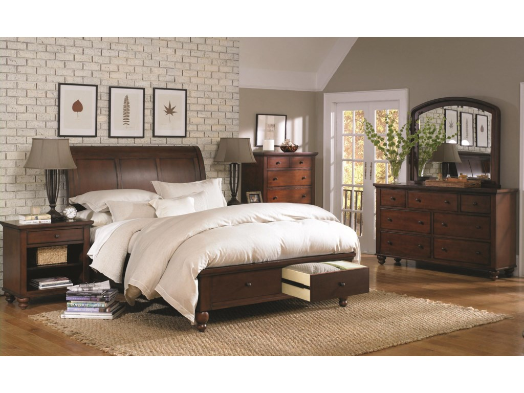 Aspenhome CambridgeKing Storage Sleigh Bed